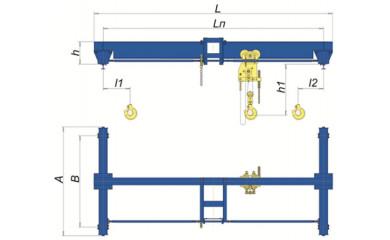 Кран ручной опорный г/п 5,0 т / 3,0-12,0м мостовой однобалочный