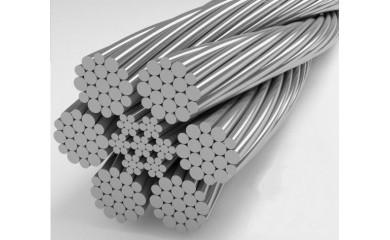 Канат стальной двойной свивки типа ЛК-Р конструкции 6х19 (1+6+6/6)+7х7(1+6)